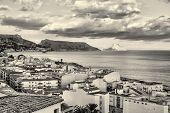 stock photo of costa blanca  - Altea old town and its bay in black and white Costa Blanca Spain - JPG