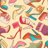 stock photo of stiletto heels  - seamless background with a variety of color women - JPG