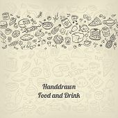 picture of freehand drawing  - background with doodle icons of different food and drinks - JPG