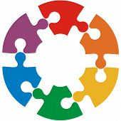 foto of puzzle  - Six color puzzle circle - JPG