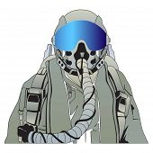 pic of aerialist  - The military pilot in the plane in a helmet vector - JPG