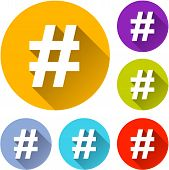 image of hashtag  - vector illustration of six colorful hashtag icons - JPG