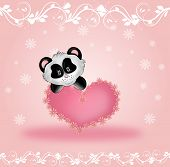 picture of panda bear  - Cute panda bear with pink heart on pink background with white ornaments - JPG