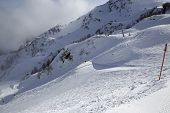 picture of olympic mountains  - Mountain skitrack on the slope - JPG