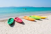 stock photo of kayak  - Colorful kayak on tropical beach of Thailand - JPG