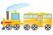 foto of locomotive  - Yellow locomotive with coach on white background - JPG