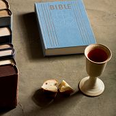 foto of chalice  - chalice of wine with bread and bible - JPG