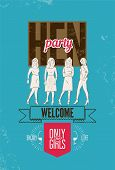 picture of hen party  - Typographic poster for hen party with pretty girls - JPG