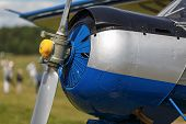 picture of rotor plane  - Fragment of an aircraft fuselage with a propeller engine - JPG