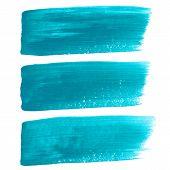 stock photo of stroking  - Vector illustration of Turquoise ink vector brush strokes - JPG