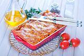 pic of lasagna  - lasagna in bowl and on a table - JPG