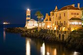 stock photo of municipal  - View of Santa Marta lighthouse and Municipal museum of Cascais in Portugal - JPG
