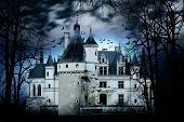 stock photo of horror  - Haunted castle with dark scary horror atmosphere - JPG