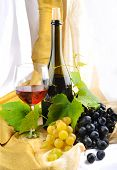 pic of wine grapes  - Wine and Grapes arrangement with wine bottle - JPG