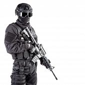 foto of officer  - Spec ops police officer SWAT in black uniform and face mask