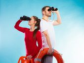 stock photo of binoculars  - Accident prevention and water rescue - JPG