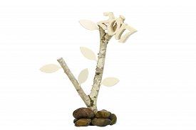 foto of birchwood  - Wooden 2017 on birchwood  with wooden leafes as symbol of groth in 2017 - JPG