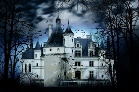 picture of scary haunted  - Haunted castle with dark scary horror atmosphere - JPG