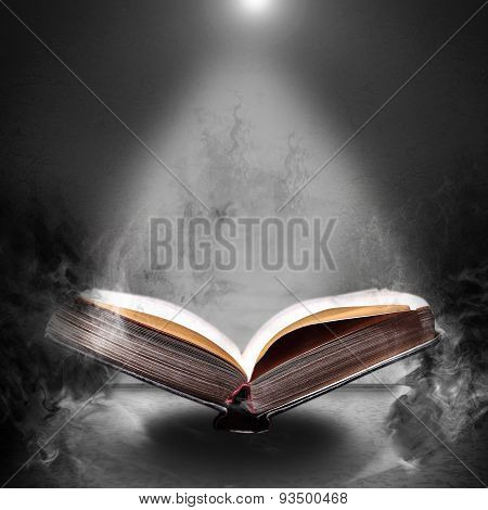 Magic Book Hovering In The Misty Haze