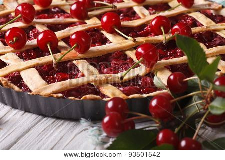 American Cherry Pie Close Up On The Table. Horizontal
