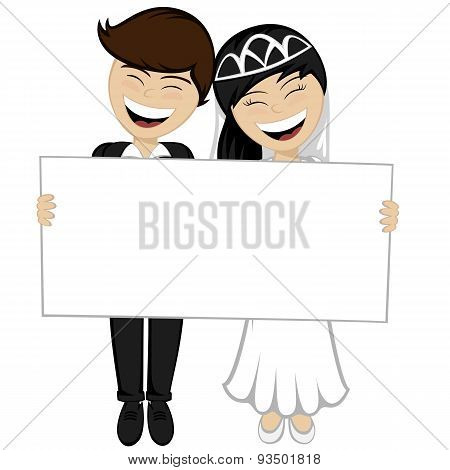 Happy Newlyweds Smiling wit ha Wedding Invitation Board