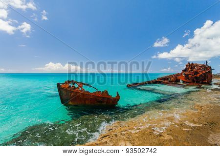 Ship Wreckage On A Beach