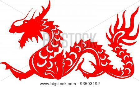 Red paper cut a Dragon china zodiac symbols