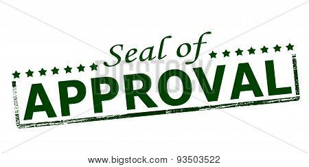 Rubber stamp with text seal of approval inside vector illustration