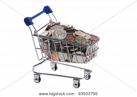 Miniature Shopping Cart Filled With Us Coins