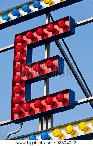 E Letter Circus Neon Sign