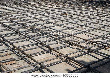 Steel Bars Mesh Reinforcement Before Pouring Concrete
