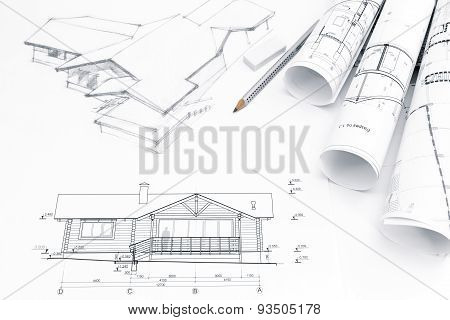 Architectural Drawing With Blueprints And Rolls