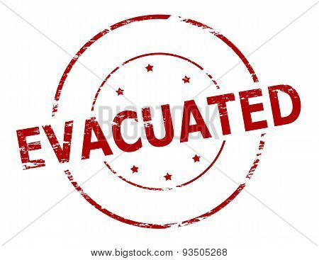 Rubber stamp with word evacuated inside vector illustration
