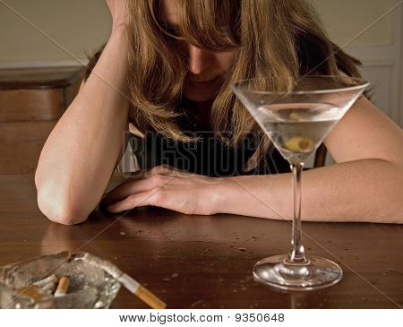 lonely alcoholic woman sobbing