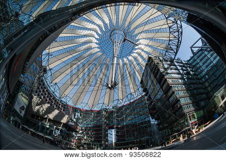 Futuristic Roof At Sony Center, Potsdamer Platz, Berlin, Germany