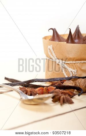 Chocolate Vanilla And Spices Cream Cake Dessert