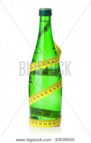 Water bottle with measuring tape. Isolated on white background
