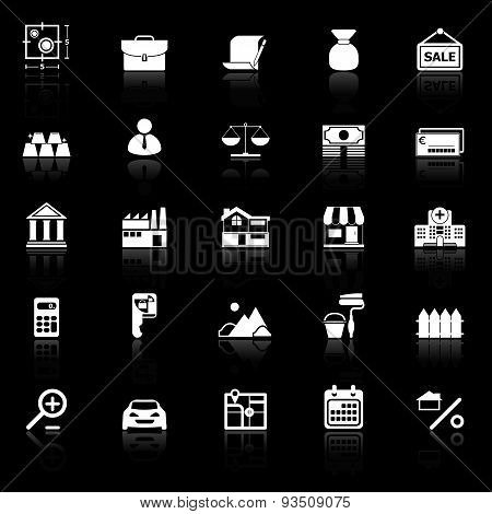 Mortgage And Home Loan Icons With Reflect On Black Background