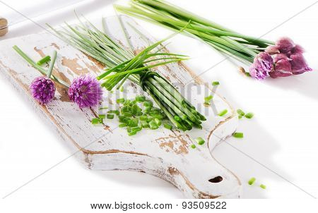 Fresh Green Chive On Isolated On  White Background.