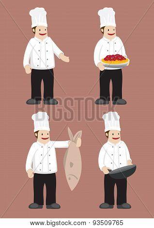 Happy Chef Vector Cartoon Character