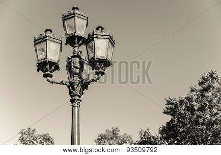 Retro Streetlight Against The Sky Tone Sepia