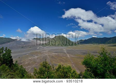 Mount Bromo With Blue Sky And Cloud