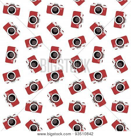vintage flat multicolor film photo cameras vector seamless pattern
