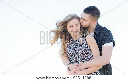 Happy Young Couple Have Romance And Fun Outside In Summer