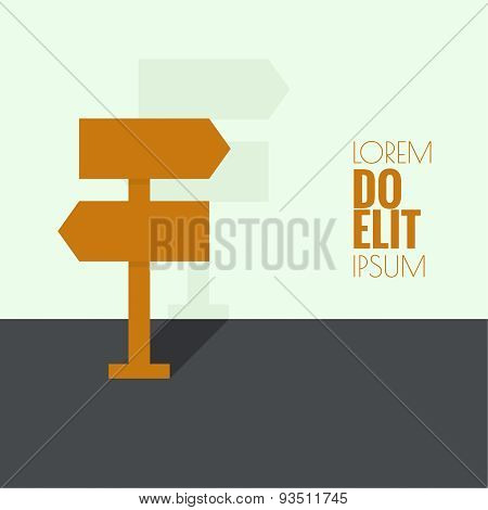 Background with direction arrow sign.