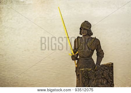 Knight Brunswick (bruncvik) Statue On Charles Bridge In Prague