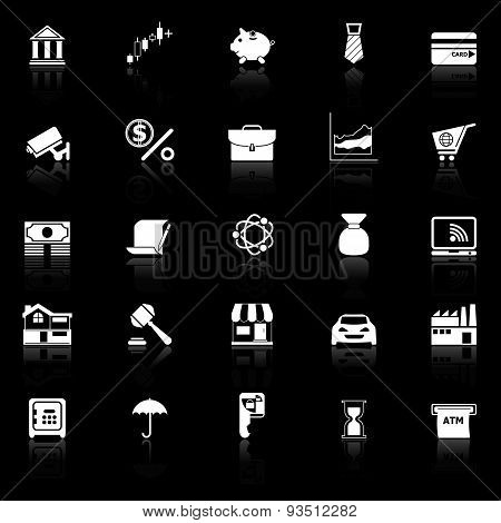 Banking And Financial Icons With Reflect On Black Background