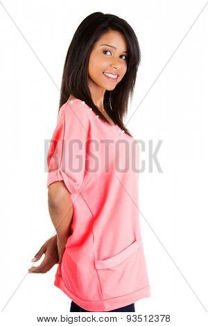 Side view woman posing with crossed arms.