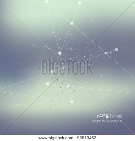 Abstract Background with Dots Array and Lines.