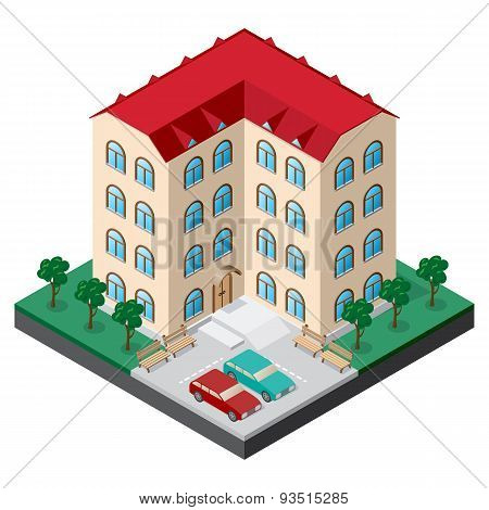 Isometric multistory building courtyard with benches cars trees and lawn.